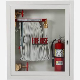 "1.5"" Fire Hose Rack, 2.5"" Fire Dept. Valve and Extinguisher Cabinet"