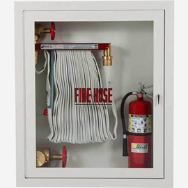 "Fire Rated 1.5"" Fire Hose Rack, 2.5"" Fire Dept. Valve and Extinguisher Cabinet"