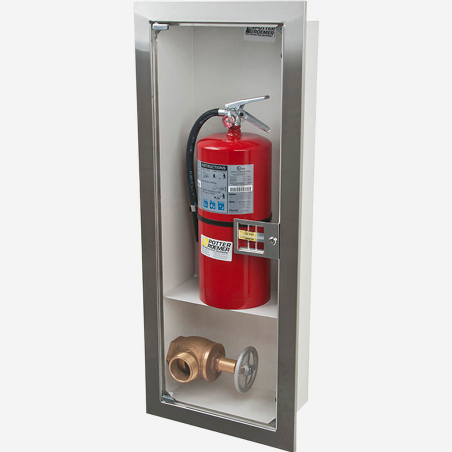 Recessed Buena Valve & Fire Extinguisher Cabinet - Potter Roemer