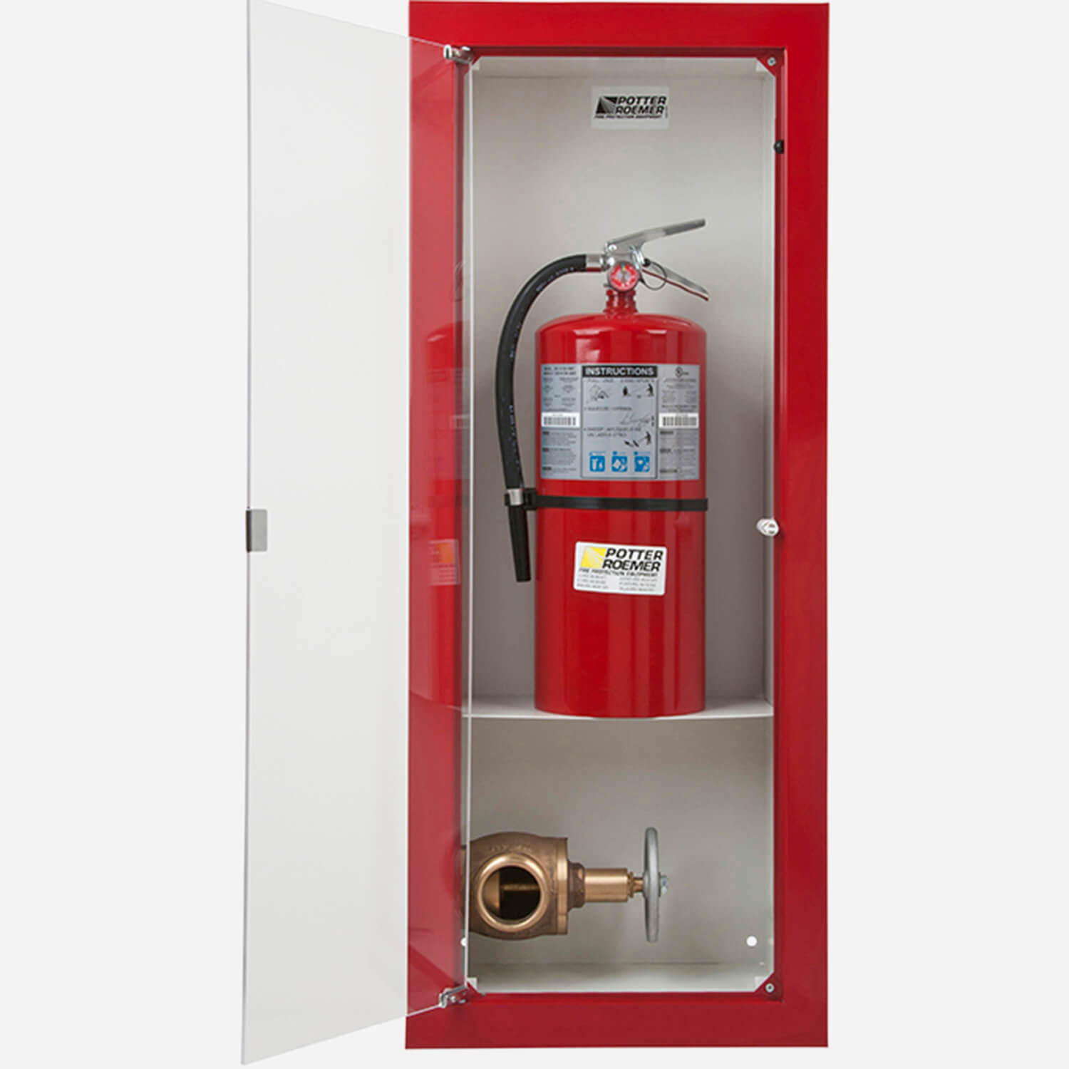 Semi-Recessed Buena Valve & Fire Extinguisher Cabinet - Potter Roemer