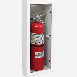 "Fire Rated Rolled Radius 3"" Trim Semi-Recessed Buena Fire Extinguisher Cabinets"