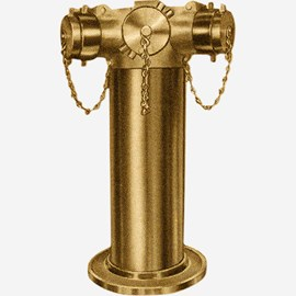 Three-Way Free-Standing Fire Dept Inlet Brass Body Connection with Clappers